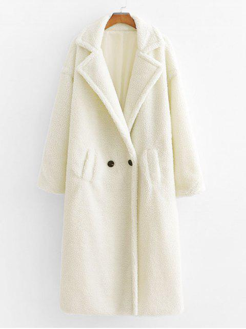 new Pockets Lapel Double Breasted Teddy Coat - WHITE M Mobile