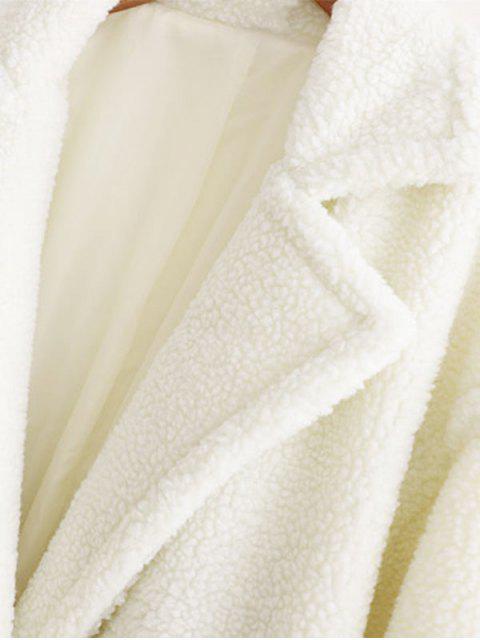 Taschen Revers Zweireihiger Teddy Mantel - Weiß L Mobile