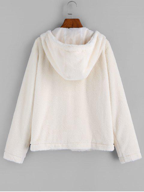 ZAFUL Manteau à Capuche à Bouton Corne en Fausse Fourrure - Blanc Chaud XL Mobile