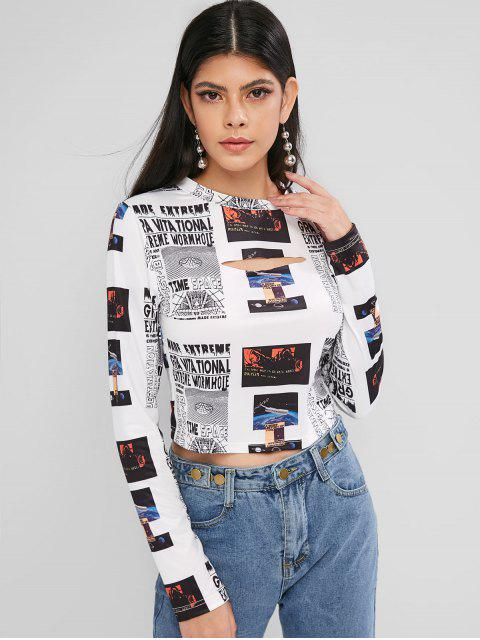 women's ZAFUL Cropped Printed Cut Out Tee - MULTI M Mobile