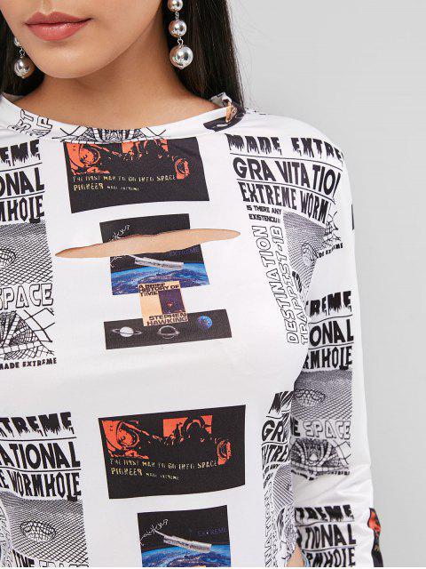 ZAFULクロップドプリントカットアウトTシャツ - マルチ XL Mobile