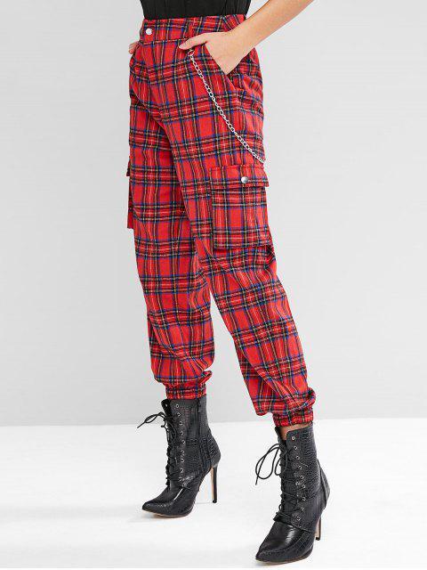 fashion ZAFUL Chain Embellished Pockets Tartan Jogger Pants - RED WINE L Mobile