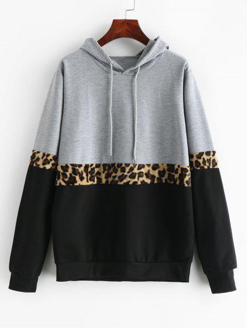 Hoodie mit Leopard Trimmung und Farbblock - Multi M Mobile