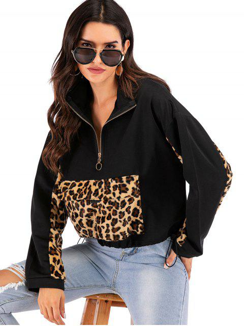 lady Front Pocket Leopard Trim Half Zip Sweatshirt - BLACK L Mobile