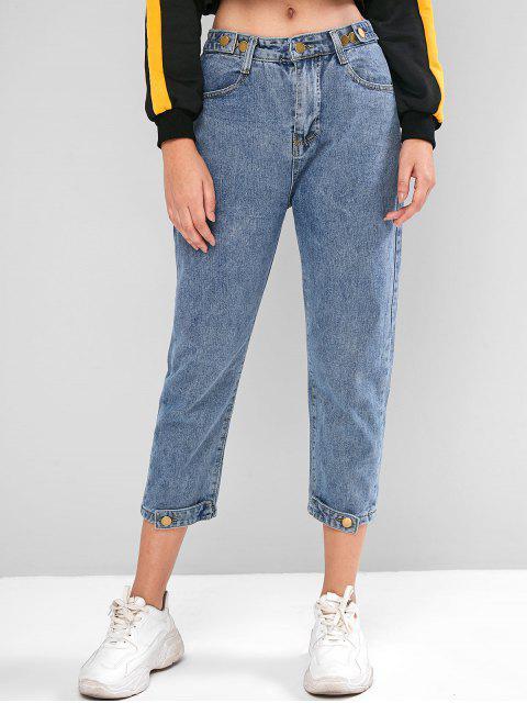 標籤下擺高腰錐形牛仔褲 - 牛仔褲藍色 L Mobile
