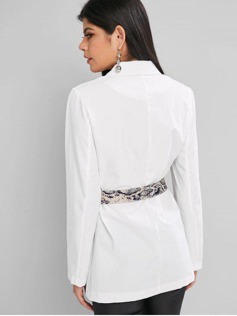 shop Snake Print Lapel Two Button Belted Blazer - WHITE L Mobile
