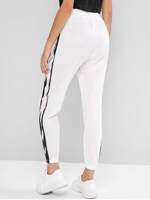 Carta con cordón de alta gráfico con cintura de los pantalones del basculador - Blanco L Mobile