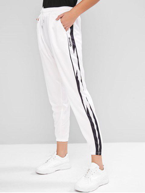 抽繩字母圖形高腰褲慢跑者 - 白色 M Mobile
