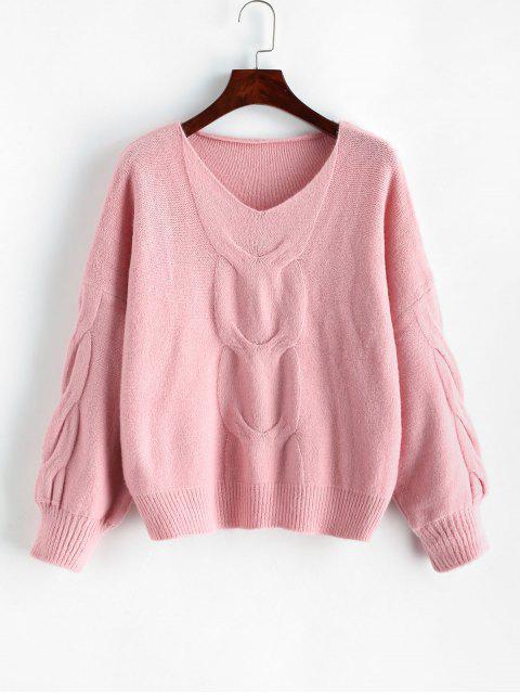 Laterne Ärmel Zopfmuster V-Ausschnitt Pullover - Rosa Eine Größe Mobile