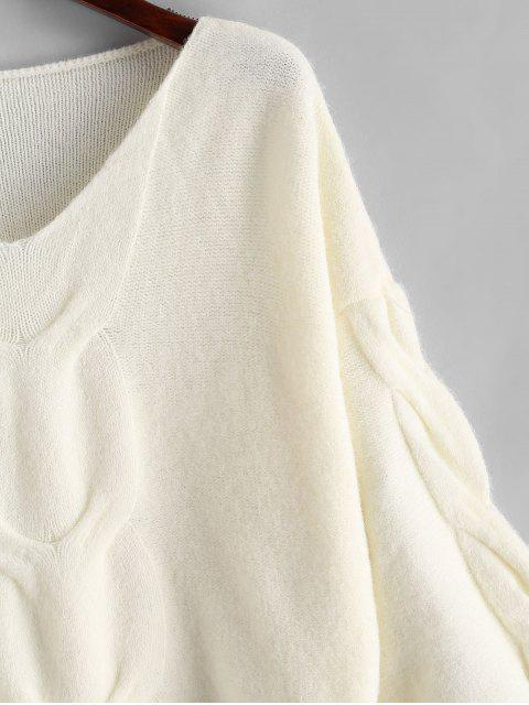latest Lantern Sleeves Cable Knit V Neck Sweater - WHITE ONE SIZE Mobile
