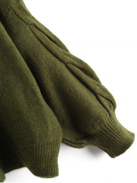 燈籠袖麻花針織V領毛衣 - 軍綠色 One Size Mobile