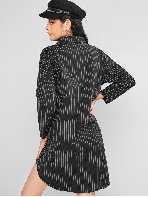 Botón de camisa de vestir de Down de manga larga a rayas - Negro L Mobile