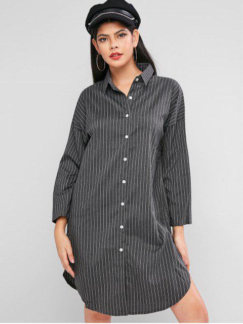 按鈕按下長袖條紋襯衫裙 - 灰色 M Mobile
