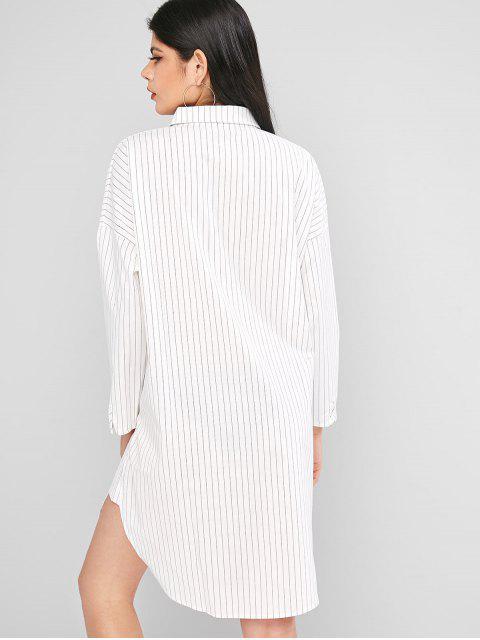 Knopf Langarm Streifen Hemd Kleid - Weiß M Mobile
