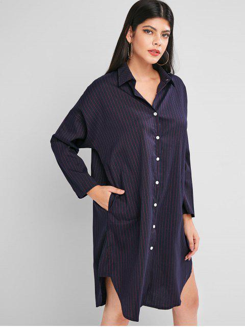 按鈕按下長袖條紋襯衫裙 - 深藍板岩 XL Mobile