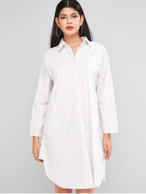 Robe Chemise Rayée Boutonnée à Manches Longues - Blanc L Mobile