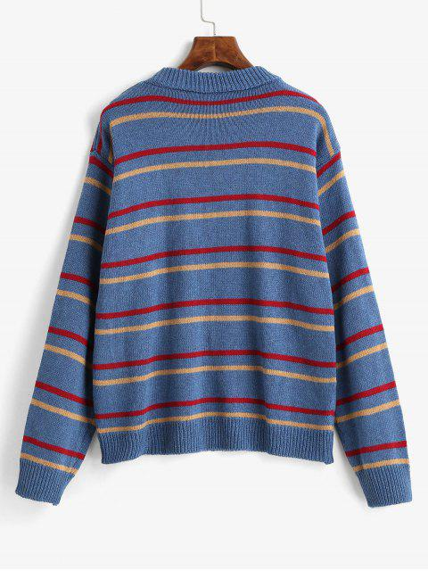 fashion Stripes Crew Neck Jumper Sweater - SILK BLUE ONE SIZE Mobile
