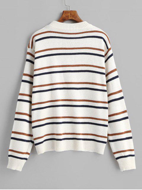 Streifen Pullover Mit Rundhalsausschnitt - Weiß Eine Größe Mobile