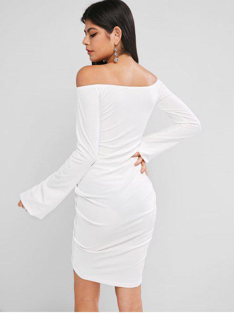 Schulterfreies geripptes Figurbetontes Kleid mit Laternehülse - Weiß L Mobile