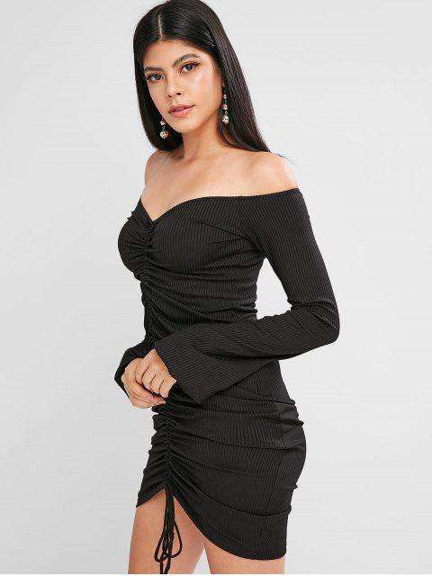 Schulterfreies geripptes Figurbetontes Kleid mit Laternehülse - Schwarz L Mobile