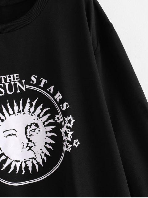 Weites Sweatshirt mit Sonnen und Mond Buchstabe Grafik - Schwarz XL Mobile