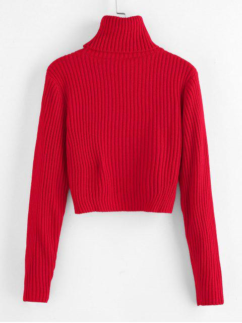 online ZAFUL Ribbed Turtleneck Cropped Sweater - RED M Mobile