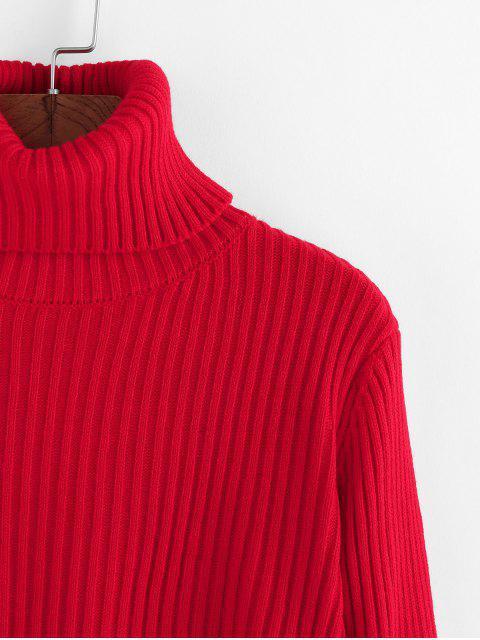 ZAFUL Gerippter Kurzer Pullover mit Rollkragen - Rot XL  Mobile