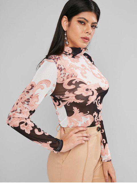 women's Mesh Leopard Print Sheer High Neck Tee - MULTI L Mobile