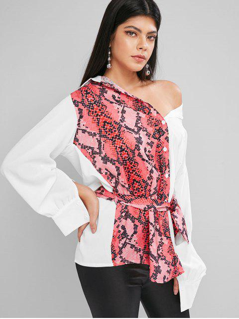 chic Contrast Snake Print Belted Curved Tunic Shirt - WHITE L Mobile