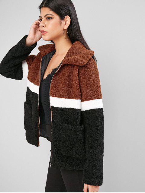 ZAFUL mit Reißverschluss Colorblock aufgesetzte Taschen Teddy Jacke - Multi-A L Mobile