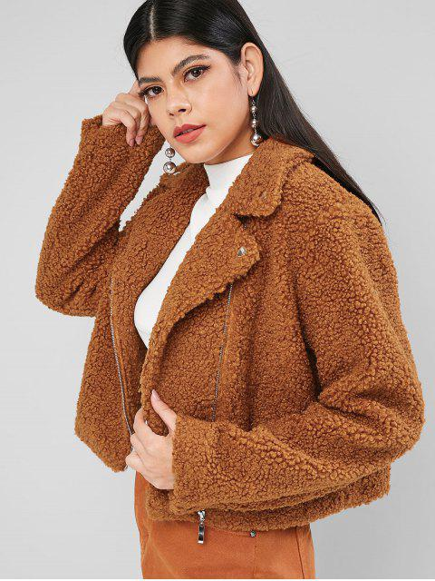trendy ZAFUL Solid Zip Front Snap Button Teddy Jacket - TIGER ORANGE XL Mobile