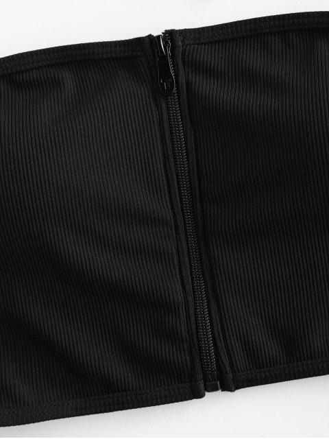 ZAFUL acanalado cremallera del traje de baño de Tankini Bandeau - Negro S Mobile