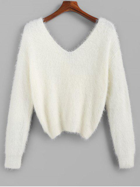 shop ZAFUL Twisted Plunging Fuzzy Sweater - WHITE S Mobile