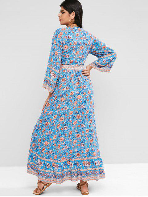 lady Floral Flounce Hem Maxi Wrap Dress - BLUE M Mobile