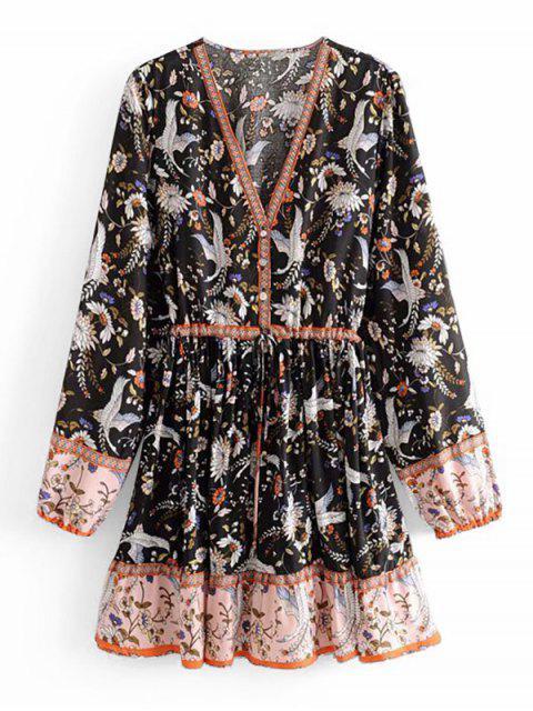 Robe Florale Grue à Demi-Boutonnée à Manches Longues - Multi-A S Mobile