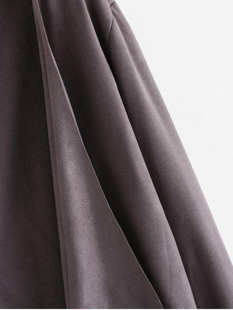 垂褶不對稱仿麂皮打開夾克 - 深灰色 L Mobile