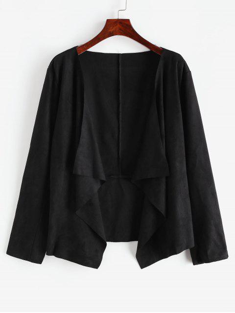 垂褶不對稱仿麂皮打開夾克 - 黑色 S Mobile