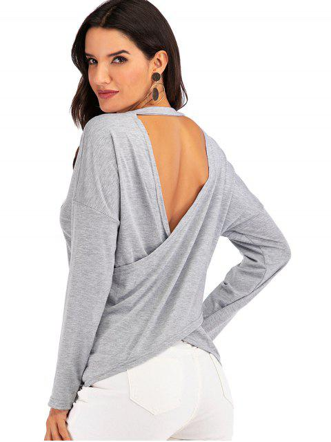 outfit Overlap Back Heathered V Neck Tee - GRAY S Mobile