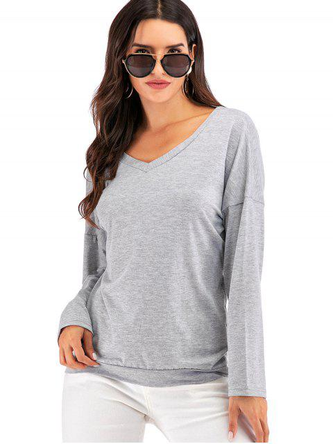 outfits Overlap Back Heathered V Neck Tee - GRAY M Mobile