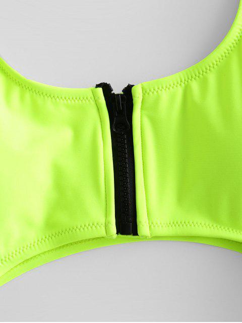 ZAFUL霓虹燈郵編摳圖O型環高切泳衣 - 黃綠色 S Mobile