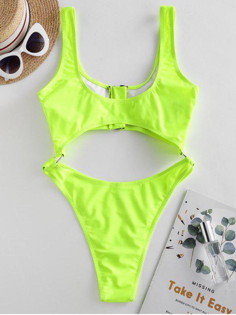 ZAFUL霓虹燈郵編摳圖O型環高切泳衣 - 黃綠色 XL Mobile