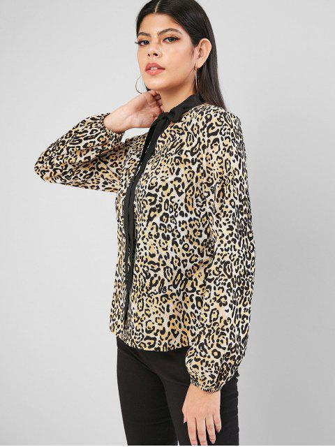 womens Leopard Animal Print Bow Tie Blouse - MULTI-A S Mobile