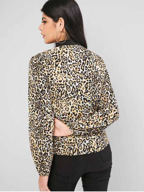 outfit Leopard Animal Print Bow Tie Blouse - MULTI-A XL Mobile