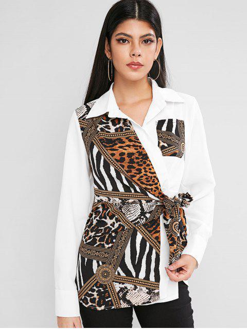 lady Leopard Zebra Print Chest Pocket Tie Blouse - MULTI XL Mobile