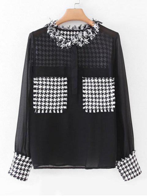 trendy Houndstooth Tweed Panel Dual Pocket Chiffon Blouse - BLACK M Mobile