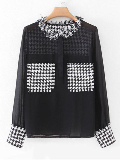 fancy Houndstooth Tweed Panel Dual Pocket Chiffon Blouse - BLACK L Mobile