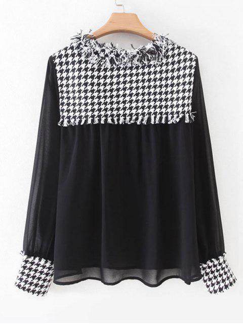 latest Houndstooth Tweed Panel Dual Pocket Chiffon Blouse - BLACK S Mobile