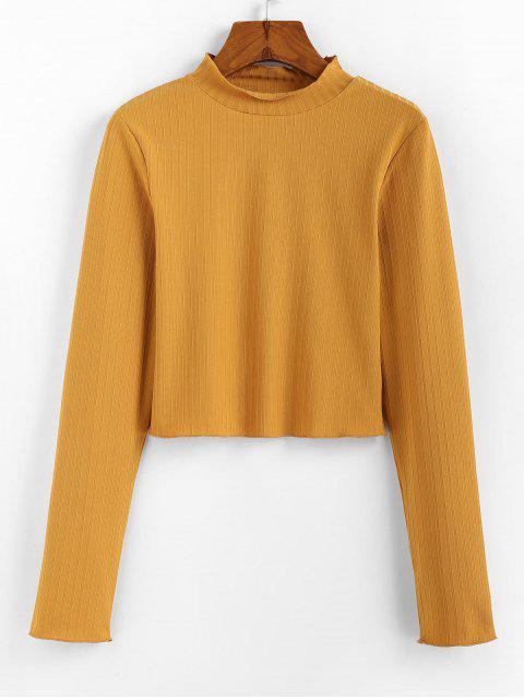 outfits ZAFUL Mock Neck Plain Cropped T Shirt - BEE YELLOW S Mobile