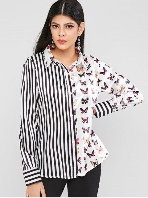 chic Butterfly Striped Satin Button Up Shirt - WHITE M Mobile