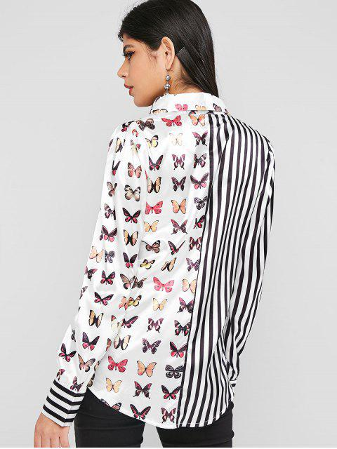 fancy Butterfly Striped Satin Button Up Shirt - WHITE XL Mobile